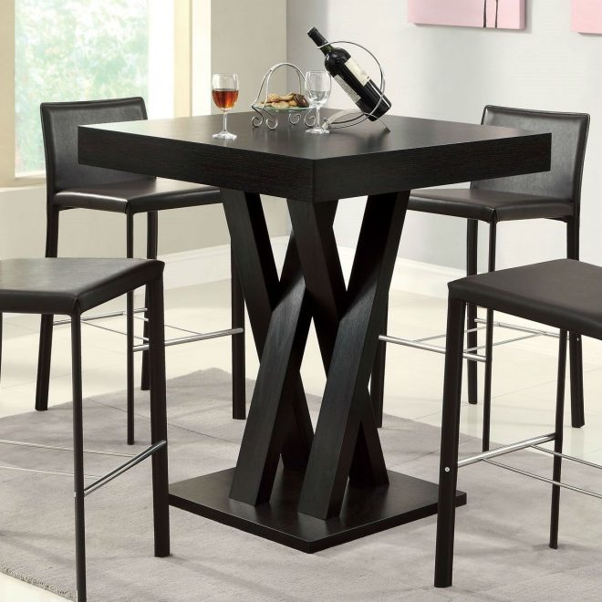 modern 40 inch high square dining table in dark cappuccino