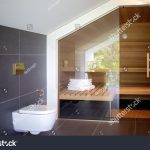 modern bathroom sauna contemporary interior luxury stock