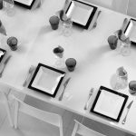 modern black and white dining table setting seen above
