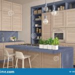 modern blue kitchen with wooden details in contemporary