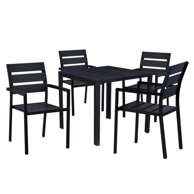 modern contemporary 5 piece black metal square outdoor dining set with faux wood and stackable chairs