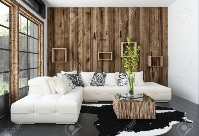 modern cosy rustic living room with wood cladding on the wall