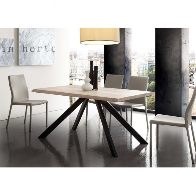 modern dining table houston with wooden top and metal legs