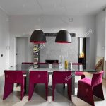 modern dining table of glass with wood floor and purple
