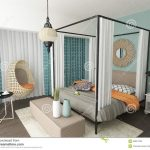 modern eclectic bedroom interior design stock illustration