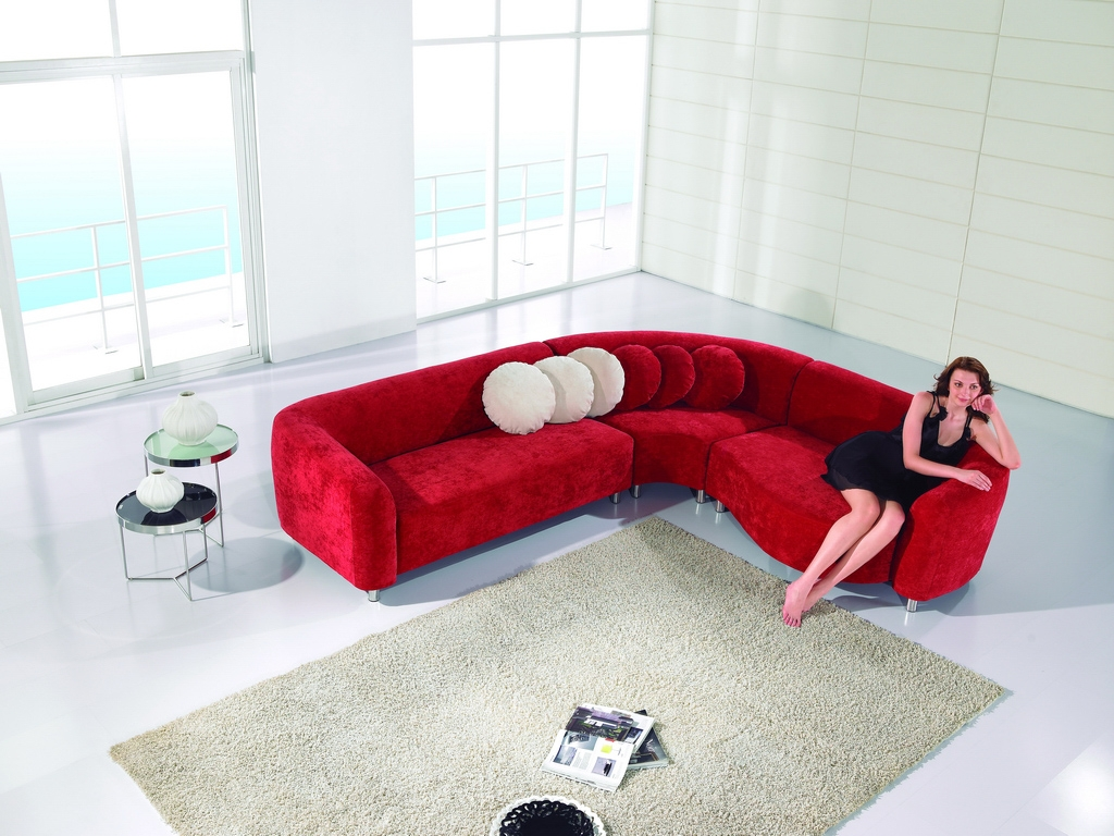 modern fabric sectional sofa red