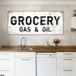 modern farmhouse kitchen wall decor grocery sign gas oil rustic dining room wall decor faux metal antique style large canvas print art