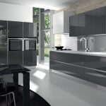 modern glossy grey kitchen cabinets and white countertop office