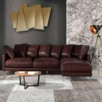 modern home leather match sectional sofa chaise ottoman couch dark brown