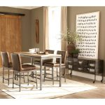 modern industrial counter height dining set with buffet cabinet server