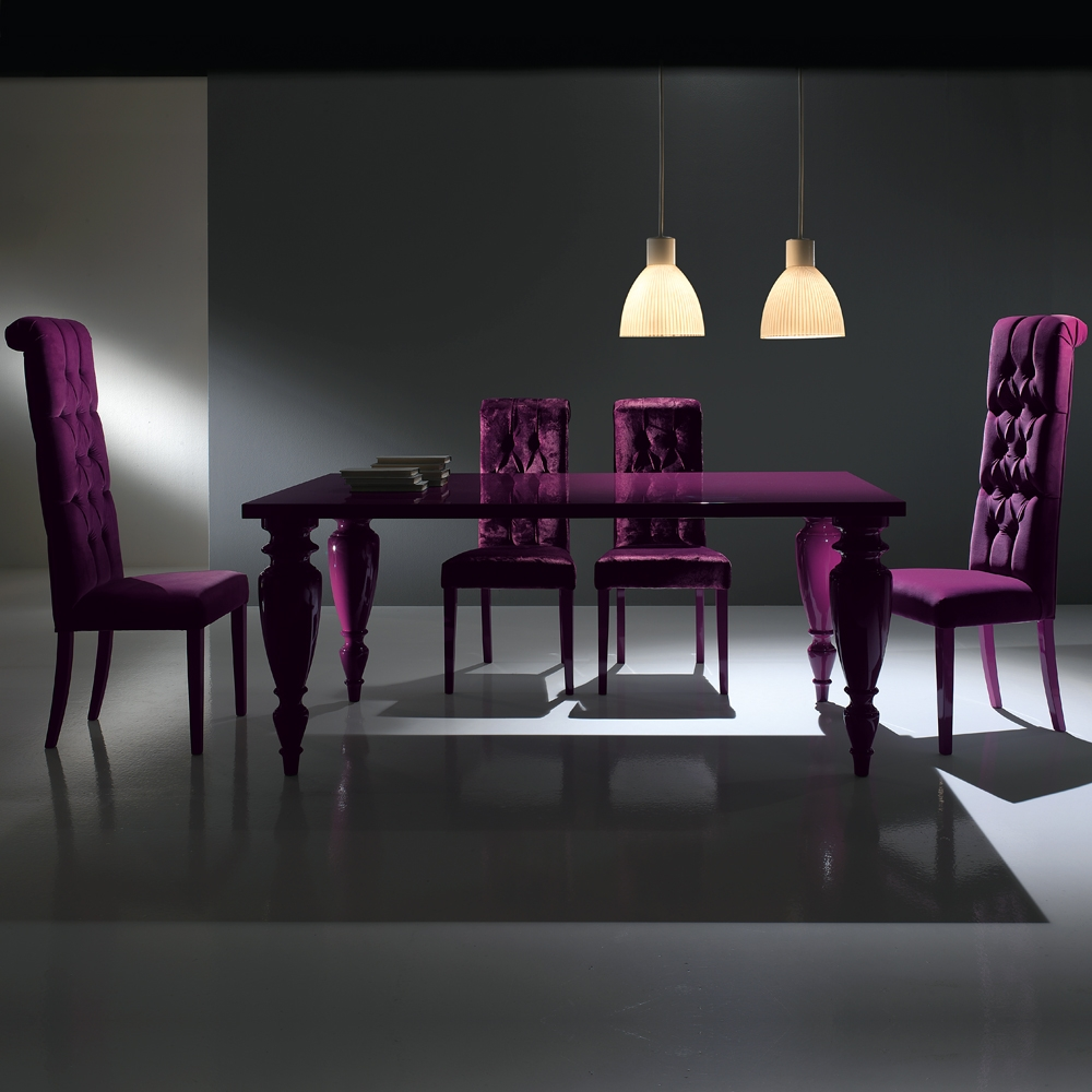 modern italian lacquered purple dining room set juliettes interiors