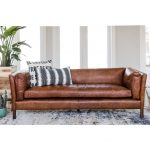 modern leather sofa mid century modern couch top grain brazilian leather cognac brown