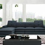 modern living room blue fabric bonded leather sectional sofa chaise set igwg