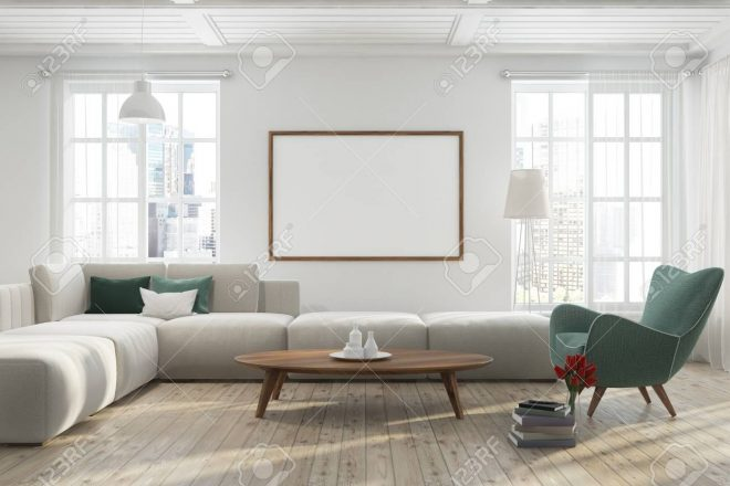 modern living room interior with a wooden floor white walls