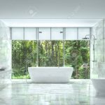 modern luxury bathroom with nature view 3d rendering image there