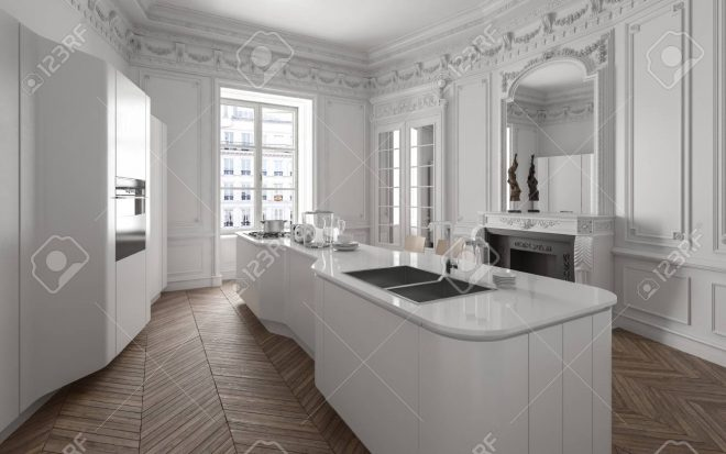 modern luxury white fitted kitchen with a large centre island