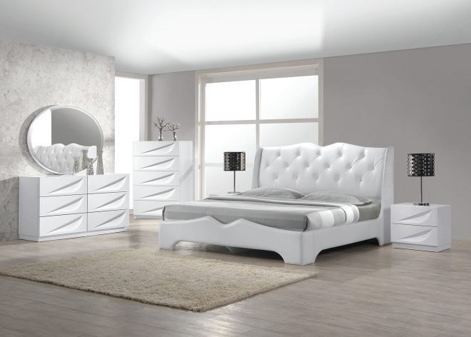 modern madrid 4 piece bedroom set eastern king size bed leather like exterior mirror dresser nightstand white lacquer headboard with like crystals