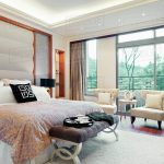 modern master bedroom with large picture windows d145202433