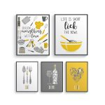 modern mustard yellow gray kitchen wall decor yellow