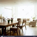 modern open plan neutral sitting room dining area wood table