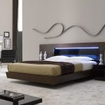 modern queen size platform bed in tobacco brown modern