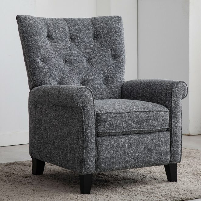 modern recliner chair accent push back single sofa padded seat living room gray