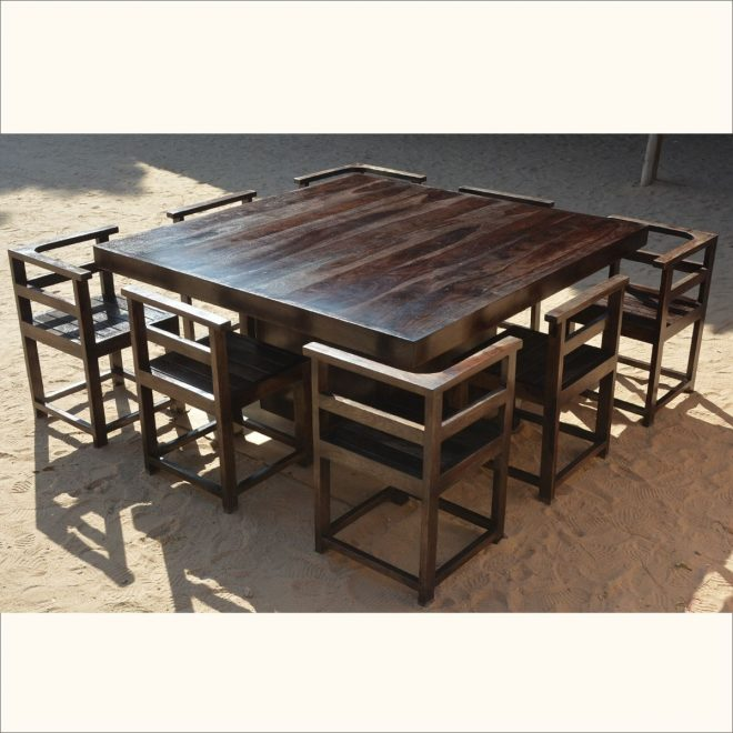 modern rustic solid wood 64 square pedestal dining table 8 chairs