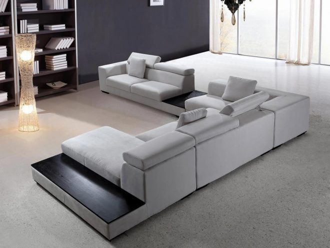 modern sectional sofa grey microfiber vg fort 16 fabric