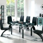modern sleek and elegant black dining room sets with square glass