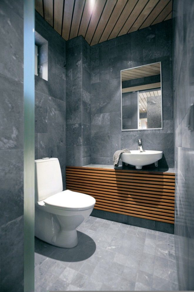 modern small bathroom stone tile wall wooden ceiling 1236