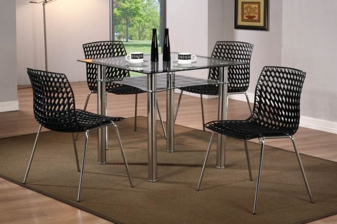 modern small square glass dining table and 4 chairs homegenies