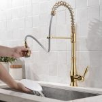 modern spring pull out spout gold kitchen sink faucet tap with 3