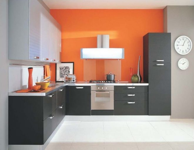 modern style kitchen design with orange stained wall also