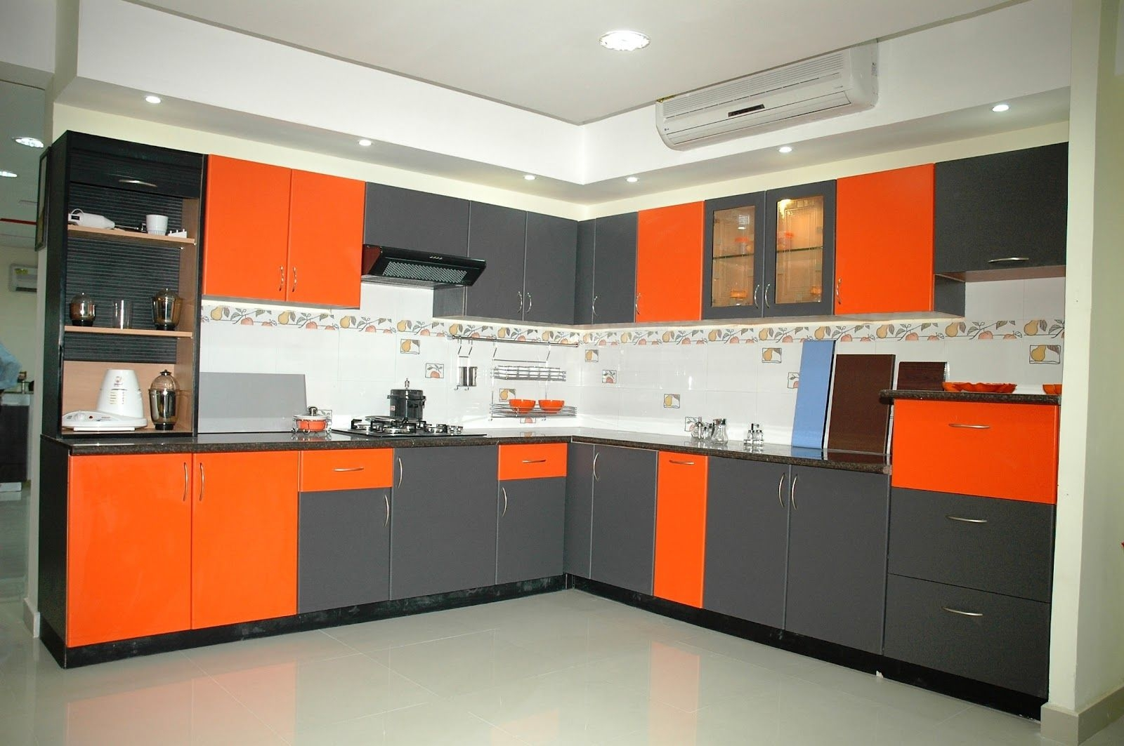 modular kitchen ideas combined from grey and orange with