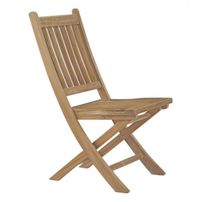 modway marina patio folding teak outdoor dining chair in natural