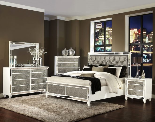 monroe pearlizzed white wood glass 2pc bedroom set wqueen bed the