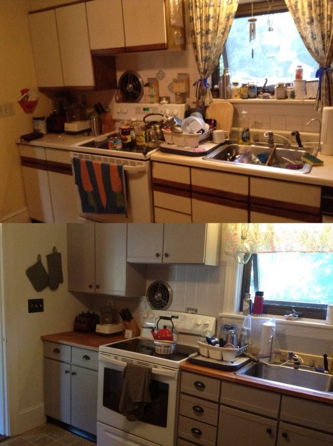 my before after painting pressboard laminate cabinets kitchen