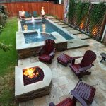 narrow pool with hot tub firepit great for small spaces hot