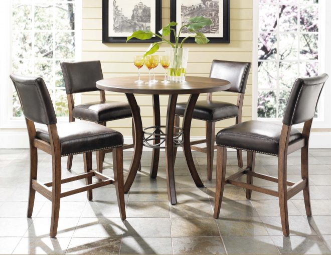 narrow round bar height table set and four leather upholstered