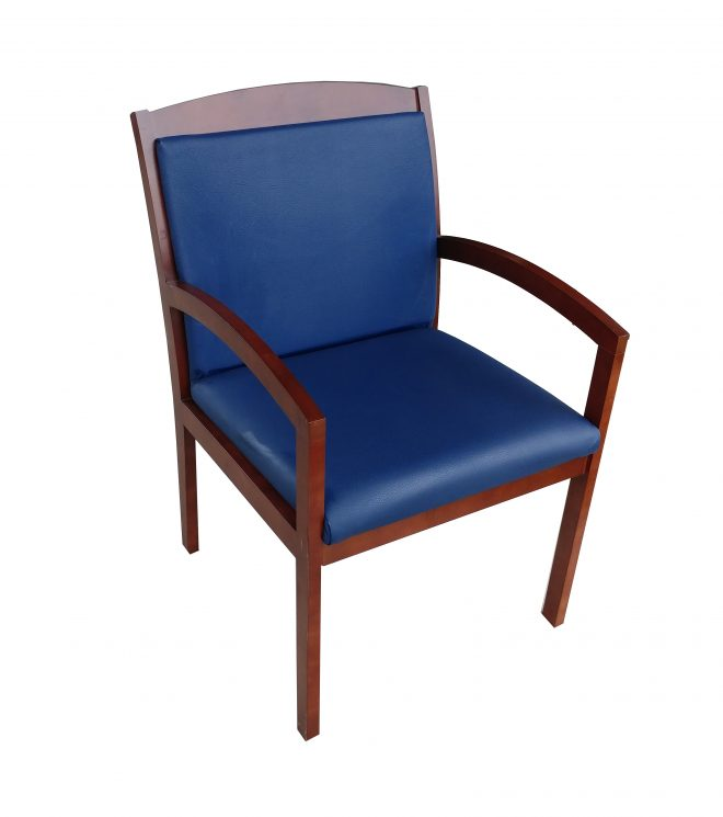 national timberlane blue vinyl seat and back guest chair