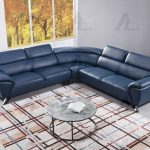 navy blue italian top grain leather sectional sofa set