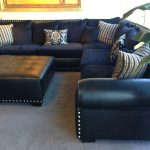navy sectional leathercloth mix ehhh blue leather