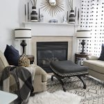 neutral eclectic fall tour black white living room