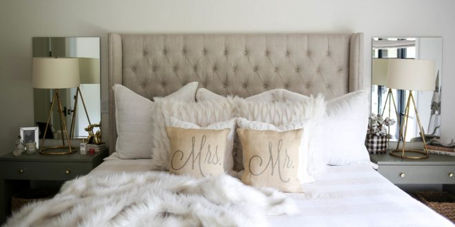 neutral modern farmhouse master bedroom styled kasey