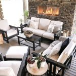 new black and white outdoor patio furniture with stone