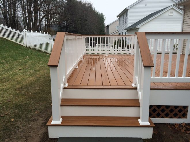 new deck in milford ct 4ft wide stairs are a nice touch