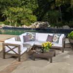 noble house brava gray 4 piece wood outdoor sectional set with white cushions