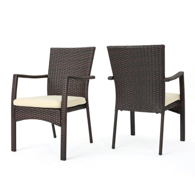 noble house corsica multi brown wicker outdoor dining chairs with cream cushions set of 2