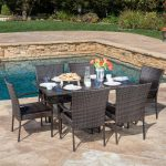 noble house delani multi brown 7 piece wicker outdoor dining set