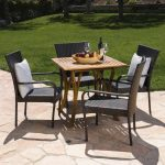 noble house kace 5 piece wood and wicker square outdoor